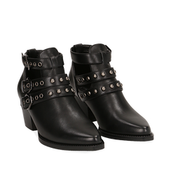 Camperos neri in eco-pelle con borchie, tacco 6 cm , Stivaletti, 143021907EPNERO036, 002a