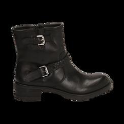 Biker boots neri con fibbie in pelle, tacco 4 cm , Stivaletti, 146262008PENERO036, 001 preview