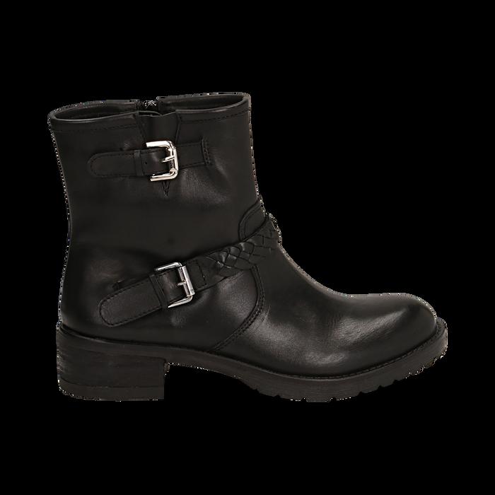 Biker boots neri con fibbie in pelle, tacco 4 cm , Stivaletti, 146262008PENERO036