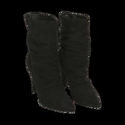 Ankle boots drappeggiati neri in microfibra, tacco 10 cm , Stivaletti, 142152925MFNERO035, 002 preview