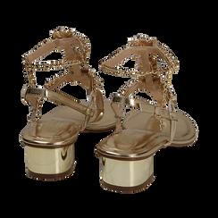 Sandalias en eco-piel laminada con pedrería color dorado, tacón 3,5 cm , OPORTUNIDADES, 154927101LMOROG036, 004 preview