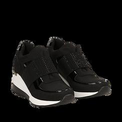 Sneakers nere in lycra con strap e brillantini, zeppa 6 cm , Scarpe, 14A718208LYNERO035, 002a