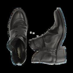 Camperos neri in vera pelle con elastici, tacco 4,5 cm, Scarpe, 131612461PENERO037, 003 preview