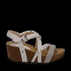 Sandali bianchi in eco-pelle con strass, zeppa in sughero 6 cm , Saldi Estivi, 117646314EPBIAN035, 001a