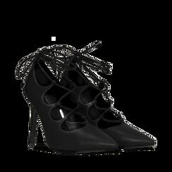 Décolleté nere con lacci sul collo del piede, tacco stiletto 10 cm, Primadonna, 122166011EPNERO037, 002a