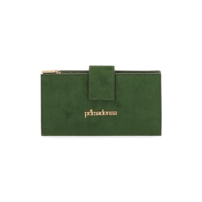 Portafogli verde in microfibra, Primadonna, 185122158MFVERDUNI