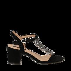 Sandalo nero in microfibra con strass, tacco 6,50 cm, Scarpe, 134956322MFNERO035, 001a