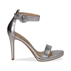 Sandali argento in laminato, tacco stiletto 10 cm , Primadonna, 132127405LMARGE037, 001 preview