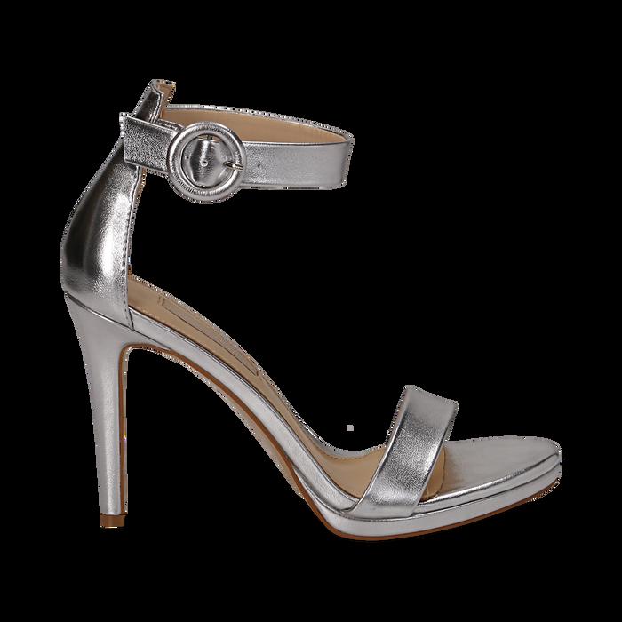 Sandali argento in laminato, tacco stiletto 10 cm , Primadonna, 132127405LMARGE037