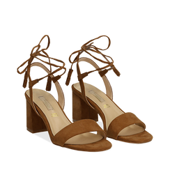 Sandali marroni in microfibra con laccetti alla caviglia, tacco quadrato 7,5 cm, Scarpe, 132127351MFMARR036, 002a