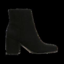 Tronchetti neri scamosciati, tacco medio 5 cm, Scarpe, 122762715MFNERO, 001 preview
