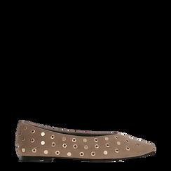 Ballerine taupe in microfibra scamosciata e mini-borchie, tacco basso, Primadonna, 124991821MFTAUP035, 001a