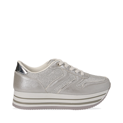 Sneakers flatform argento in eco-pelle, zeppa 4 cm, Scarpe, 139300004EPARGE035, 001a