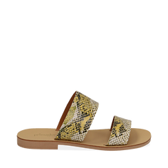 Mules flat gialle in vernice effetto snake skin, Primadonna, 136767003PTGIAL035, 001a