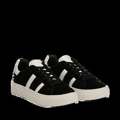 Sneakers nere in microfibra stile vintage Seventies, Scarpe, 130101157MFNERO035, 002a