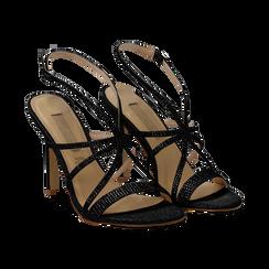 Sandali multilistino neri glitter, tacco 10,50 cm, Sandali con tacco, 132120882GLNERO035, 002 preview