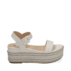 Sandali bianchi in eco-pelle, zeppa 7 cm , Primadonna, 154932211EPBIAN035, 001a