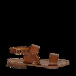 Sandali flat cuoio in pelle, Saldi Estivi, 138102005VACUOI035, 001a