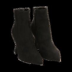 Ankle boots neri in microfibra, tacco 10 cm, Primadonna, 16G890701MFNERO036, 002 preview
