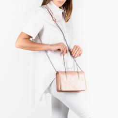 Mini bag nude stampa pitone, Borse, 155122812PTNUDEUNI, 002a