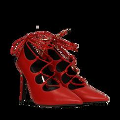 Décolleté rosse con lacci sul collo del piede, tacco stiletto 10 cm, Primadonna, 122166011EPROSS036, 002a