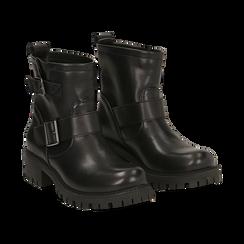 Biker boots con fibbie neri in eco-pelle, tacco 4,5 cm , Stivaletti, 140585663EPNERO036, 002 preview