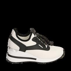 Sneakers bianche in tessuto con zeppa, Scarpe, 152803421TSBIAN035, 001a