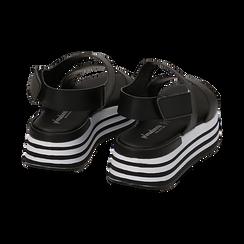 Sandali platform neri in eco-pelle, Scarpe, 136700207EPNERO036, 004 preview