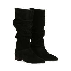 Stivali Neri in vero camoscio con gambale morbido, tacco 2,5 cm, Primadonna, 128900900CMNERO036, 002 preview