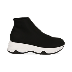 Sneakers a calza nere in lycra, zeppa 5 cm , Scarpe, 142008357LYNERO038, 001 preview