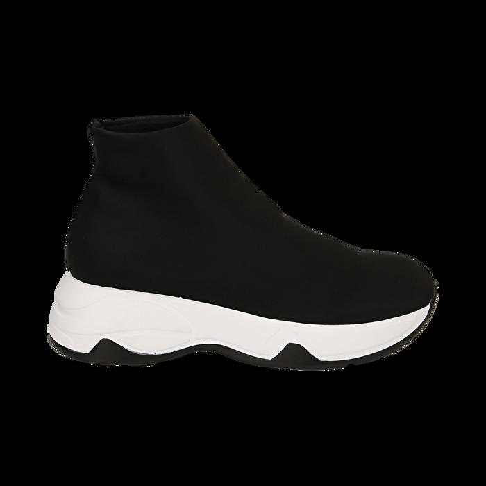 Sneakers a calza nere in lycra, zeppa 5 cm , Scarpe, 142008357LYNERO038