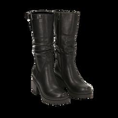 Biker boots neri in eco-pelle, tacco 8 cm , 142828192EPNERO035, 002a