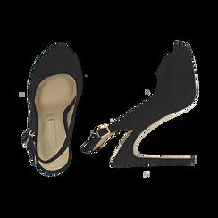 Escarpins noir en microfibre à bout ouvert, talon 12 cm , Chaussures, 152182185MFNERO038, 003 preview