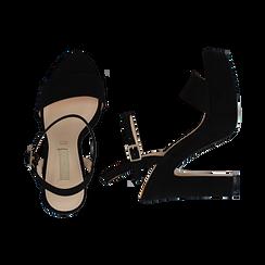 Sandali neri in microfibra con plateau, tacco 13 cm, Sandali con tacco, 138404164MFNERO035, 003 preview