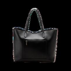 Borsa shopper nera in ecopelle con profilo catene, Saldi, 125702054EPNEROUNI, 002 preview