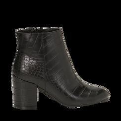 Ankle boots neri stampa cocco, tacco 7,5 cm , Stivaletti, 142762715CCNERO035, 001a