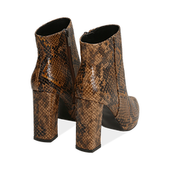Ankle boots marroni in eco-pelle stampa pitone, tacco 9,5 cm , Primadonna, 142186672PTMARR036, 004 preview