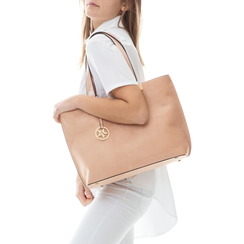 Maxi-bag nude in microfibra,