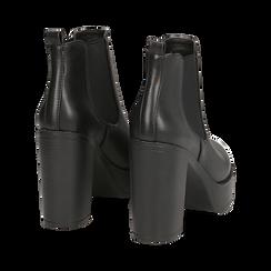Ankle boots con plateau neri in eco-pelle, tacco 12,5 cm , Stivaletti, 140619183EPNERO035, 004 preview