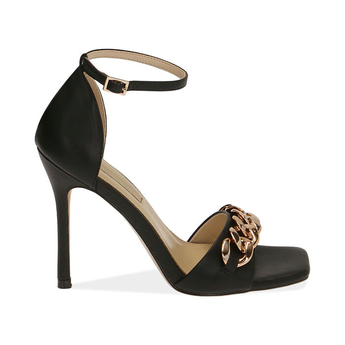 Sandali neri con catena, tacco 10,5 cm , Primadonna, 172114211EPNERO035