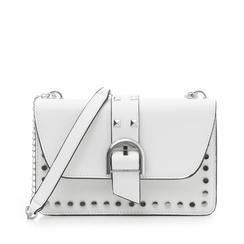 Borsa piccola bianca in eco-pelle con borchie, Borse, 132300503EPBIANUNI, 001a