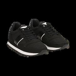 Sneakers nere in tessuto tecnico ,