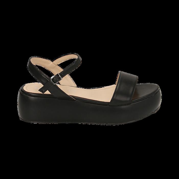 Sandali neri in eco-pelle, zeppa 5 cm , Chaussures, 159790131EPNERO038