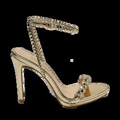 Sandali oro effetto specchio, tacco 11 cm, Sandali con tacco, 152133430SPOROG035, 001a