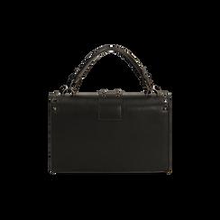 Borsa a mano borchiata nera, IDEE REGALO, 165122990EPNEROUNI, 003 preview