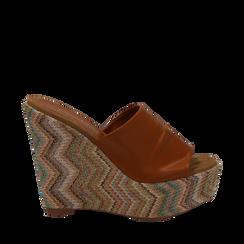 Mules platform cuoio in eco-pelle, zeppa intrecciata 13 cm, Primadonna, 132117214EPCUOI035, 001a