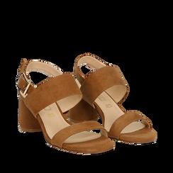 Sandali marroni in microfibra con doppia fascia, tacco 7 cm , Scarpe, 132182481MFMARR036, 002a