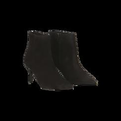 Tronchetti neri in vero camoscio, tacco midi 8 cm, Primadonna, 12D618502CMNERO035, 002