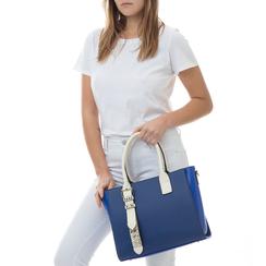 Borsa grande blu in eco-pelle con borchie, Borse, 131900944EPBLUEUNI, 002 preview