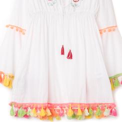 Caftano corto bianco con ricami, Primadonna, 130500634TSBIANUNI, 002a
